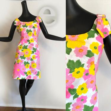 Vintage 60s MOD Shift Dress | Psychedelic Hot Pink Yellow Flower Power Hawaiian Cotton Barkcloth | Tiki Oasis Hukilau | Twiggy Mini Dress | by elliemayhems