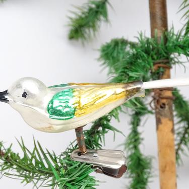 Vintage Mercury Glass Bird Christmas Clip On Ornament with Spun Glass Tail, Antique Molded Glass by exploremag