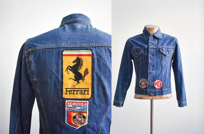 Vintage Dark Blue Jean Jacket with Ferrari Patch by milkandice