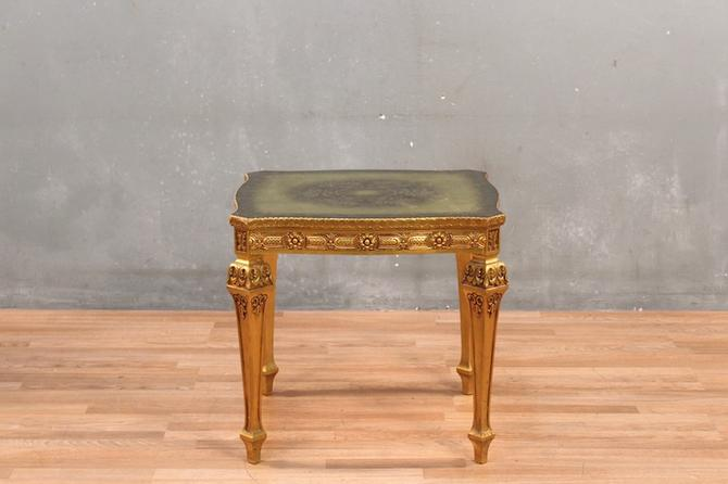 Italian Regency Gilded Glass-Top End Table