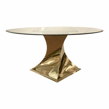 Caracole Modern Do a 360 Brass and Glass Dining Table