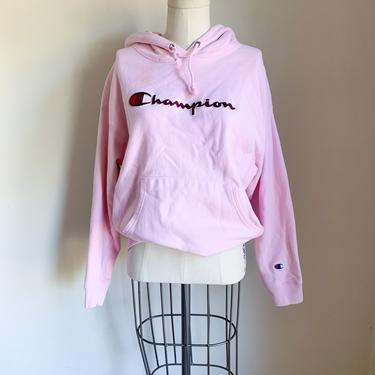 Vintage Pink Champion Logo Hooded Sweatshirt / youth L / woman's S by MsTips