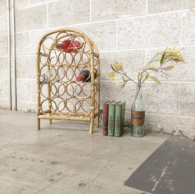 LOCAL PICKUP ONLY ----------- Vintage Rattan + Bamboo Wine Rack by RetrospectVintage215