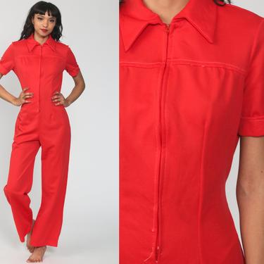 Red Bell Bottom Jumpsuit 70s Jumpsuit Wide Leg Pants Blue Boho Hippie V Neck Front Zip Disco Bohemian Vintage Pantsuit Small Medium by ShopExile