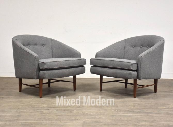 Grey Barrel Back Walnut Mid Century Lounge Chairs - A Pair by mixedmodern1