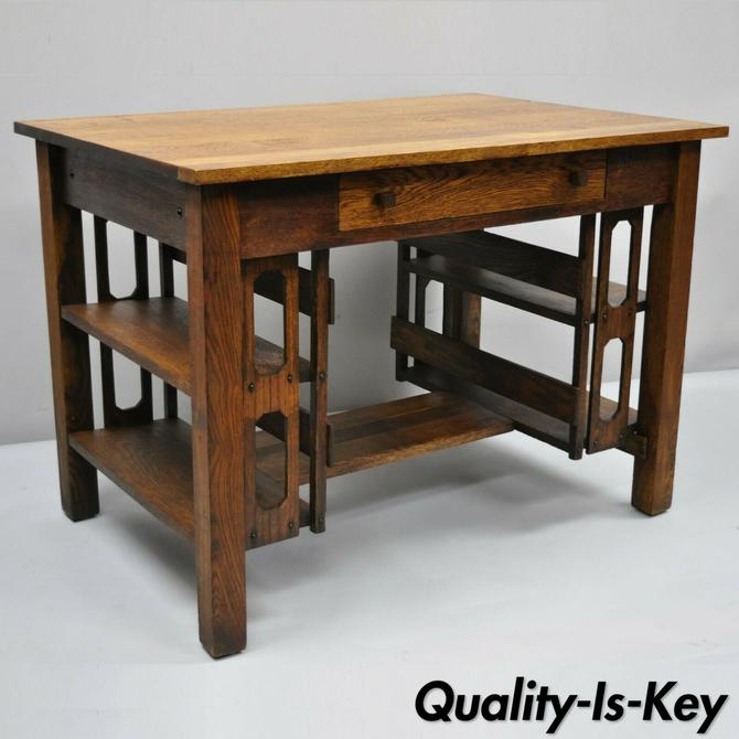 Antique Mission Arts & Crafts Oak One Drawer Writing Desk with Bookcase Sides