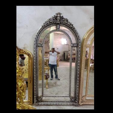 "French Mirror Silver Leaf Dark Vintage Mirror French Furniture 88""H x 47""W Floor Mirror Rococo Baroque Furniture Silver Vintage Mirror by SittinPrettyByMyleen"