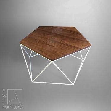 Modern Coffee Table With Solid Wood Top and Welded Steel Geometric Base by PWHFurniture