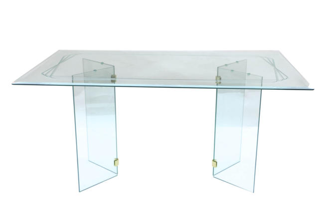 Mid Century Modern Pace Style glass Dining Table by Marykaysfurniture