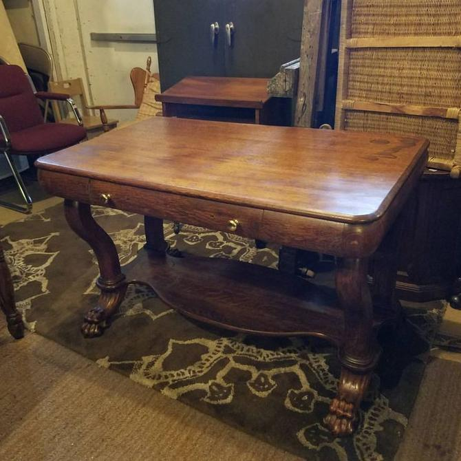 Sensational Sold Early 20Th Century Claw Foot Oak Library Table 180 Download Free Architecture Designs Oxytwazosbritishbridgeorg