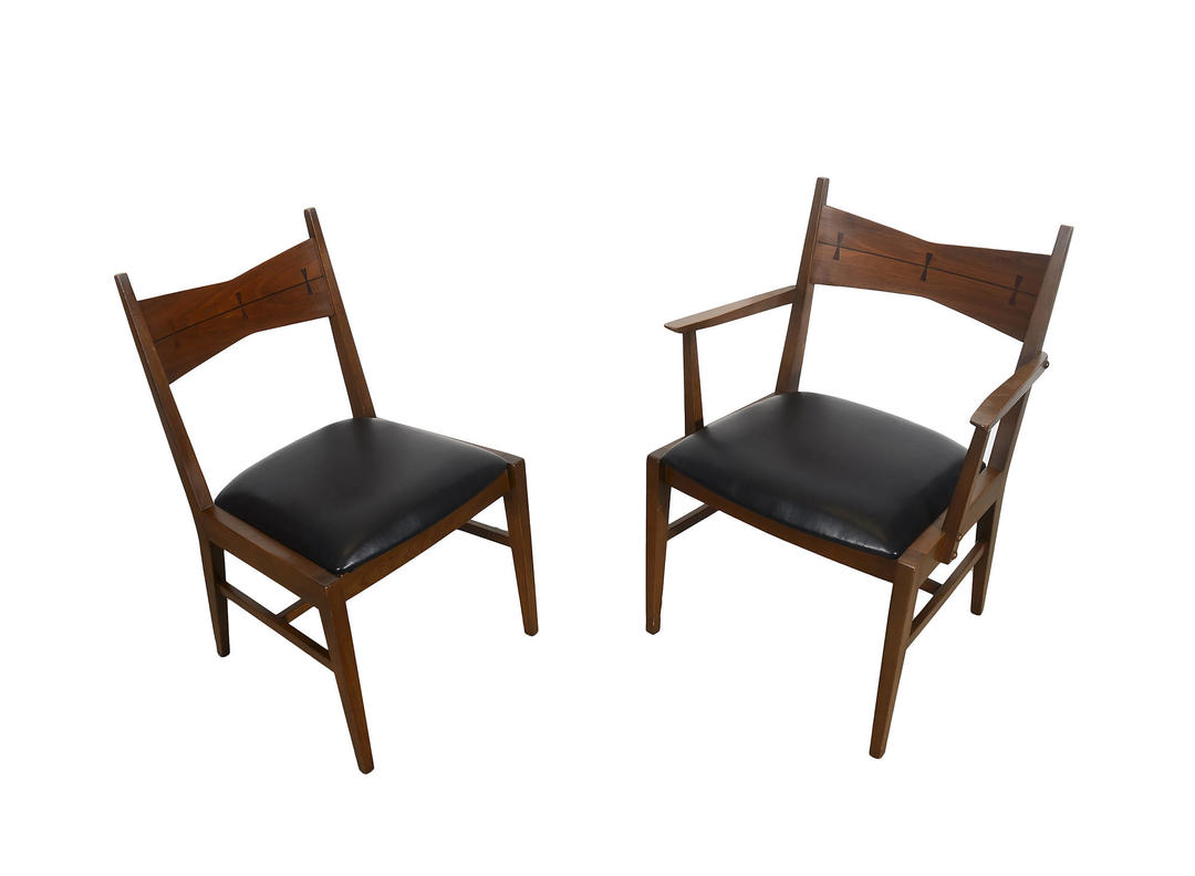 Lane Tuxedo Dining Chairs Walnut Mid Century Modern Bow