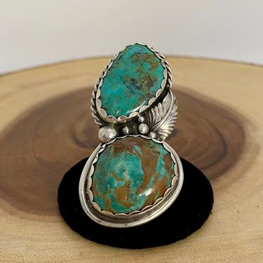SUPERSIZE ME Vintage Silver & Turquoise Ring | 1970s Large Sterling Double Decker Ring | Western Native American Navajo Jewelry | Sz 10 by lovestreetsf
