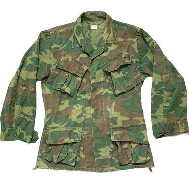 Vintage 1960s Vietnam War ERDL Rip-Stop Camouflage Poplin Shirt / Jacket ~ size S Regular ~ USMC Marine Corps ~ Jungle Coat  ~ by SparrowsAndWolves