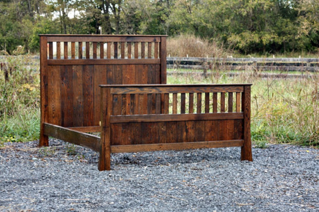 classic mission style bed made from vintage reclaimed oak by