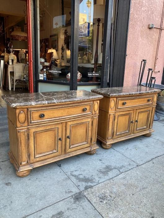 Best Dressed | Pair of Marble Top Commodes by Drexel Heritage