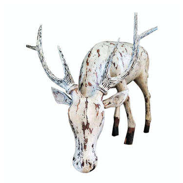 Large Antique Hand Carved Distressed Painted White Standing Stag Deer Figure Wooden Sculpture - Early 20th Century Whimsical Folk Art Statue by LynxHollowAntiques
