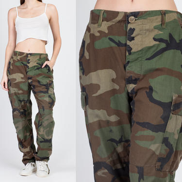 Vintage High Waisted Camo Pants - Men's Medium, Women's Large | 80s Unisex Military Olive Drab Camouflage Army Trousers by FlyingAppleVintage
