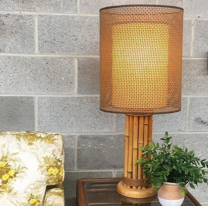 Vintage Table Lamp Retro 1970s Bohemian + Tan Bamboo Base + Twine Wrappings + Brown Wicker + Double Layer Shade + Mood Lighting + MCM Decor by RetrospectVintage215
