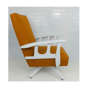 Mid Century Modern Swivel Rocking Chair Burnt Orange Fabric Gloss White Base Arms Lounge Living