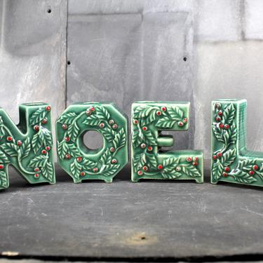 Vintage NOEL Ceramic Candle Holders - Classic Mid-Century Christmas Decor    FREE SHIPPING by Trovetorium