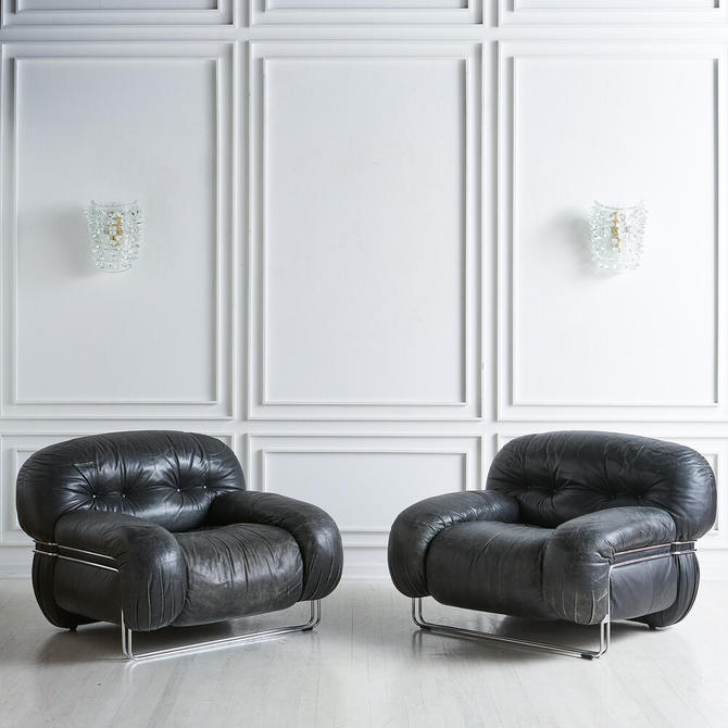 Black Leather and Chrome Italian Lounge Chairs