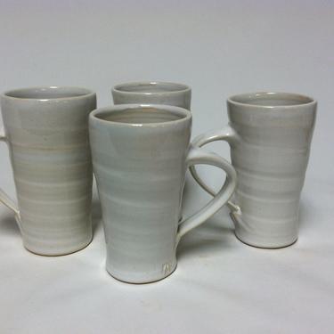 handmade mugs, coffee mugs, stoneware mugs, ceramic mugs, white, pottery mugs, cottage chic, modern, minimalist by altheaspottery