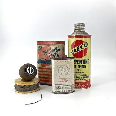 1960s Garage Relics Tin Can Oil Car Random Antique Lot Vintage Mid-Century Advertising MG Knob Ratrod Decor Display Graphic Design Labels by BrainWashington