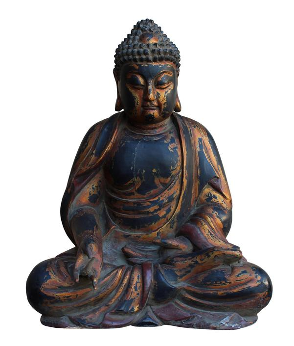 Chinese Golden Brown Wooden Meditation Sitting Buddha Statue cs3123E by GoldenLotusAntiques
