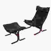 Westnofa Ingmar Relling Black Leather Siesta Chair & Ottoman