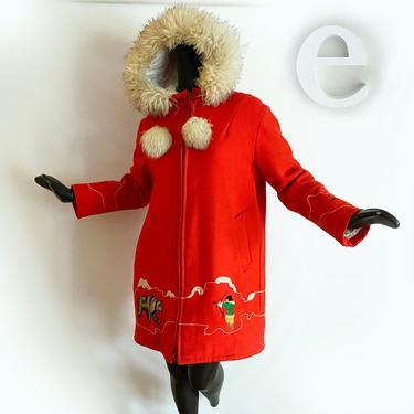 CUTEST Vintage 70s Eskimo Coat! • Bright Persimmon Orange Shearling Lamb Hood Trim + Pom Poms • Alaska Inuit • Polar Bear • Hippie • Large by elliemayhems