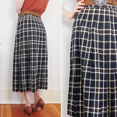 Pendleton Pleated Plaid Skirt // Vintage 100% Wool Blue Made in America USA High Waist Maxi Checkered Schoolgirl Navy Blue Small Medium by Hawksbride