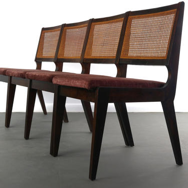 Set of Four Sophisticated Cane Back Dining Chairs in the Manner of Edward Wormley by ABTModern