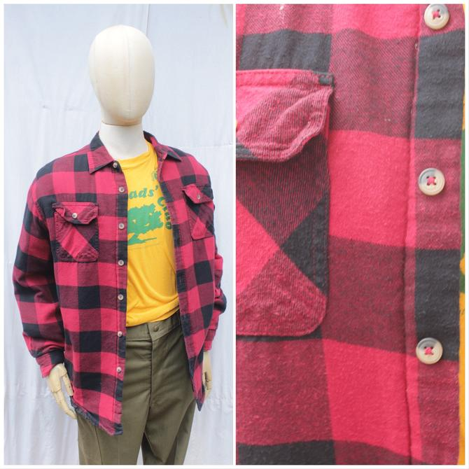 Vtg 80s Wrangler Red and Black Plaid Flannel/ Lined Plaid Workwear Shirt / Mens 2XL by AmericanDrifter