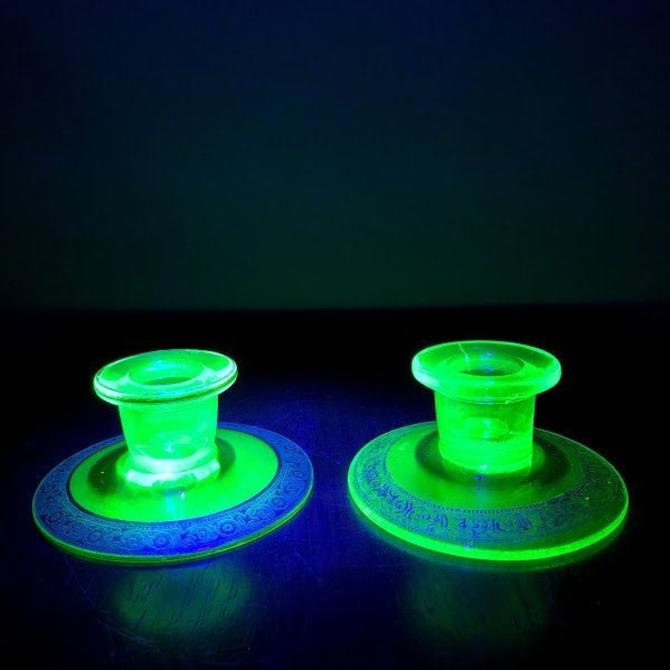 Vintage Gold Trimmed Uranium Glass Pair of Candlestick Holders by OverTheYearsFinds