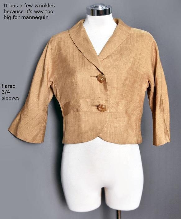 1950's Beige Tan PURE SILK Jacket, Vintage Fitted Suit, Big Lucite Buttons Mid century, Flared 3/4 Half Sleeves, Blouse, Top Shirt 50's by Boutique369