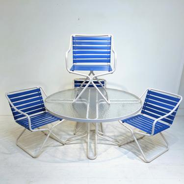 Mid Century Modern Brown Jordan Blue and White Kailua Patio Set of 5 Pieces by XcapeVintage