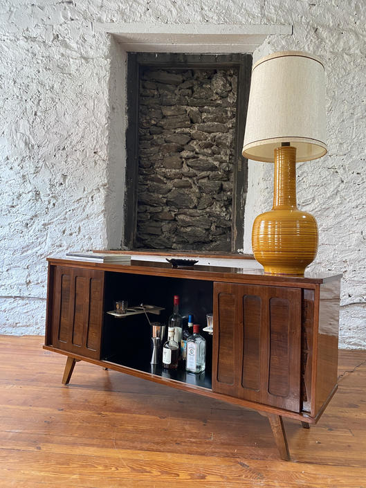 Mid century console cabinet mid century stereo console mid century modern bar cabinet by VintaDelphia