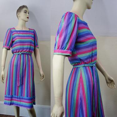 Vintage 80s multicolor stripe dress size small or XS, knee length casual midi day dress with sleeves and tie belt, preppy secretary Oops Ca by forestfathers