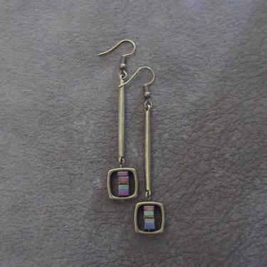 Minimalist earrings long brass and hematite, mid century modern Brutalist geometric rainbow, unique statement simple elegant by Afrocasian