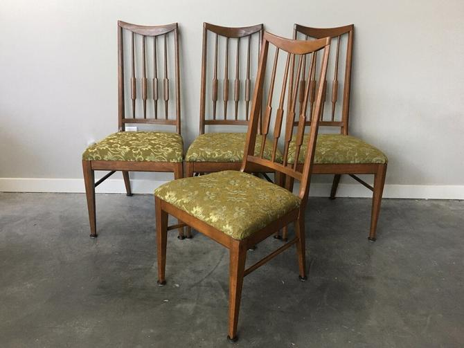 set of 4 vintage mid century modern high back dining chairs.