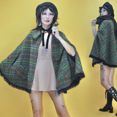 Vintage 1960s 60s MOD Green Plaid Fringe Poncho / Fits All Sizes / 1970s 70s Boho Hippie Folk Tartan Check Collared Cape Metal Zip Closure by TheeAppleBoutique