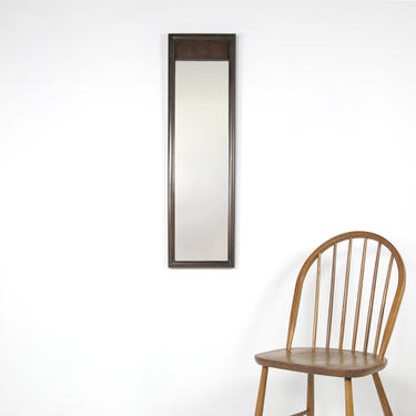 Vintage mcm slim vertical wall hanging mirror with dark walnut color frame | Free delivery in NYC and Hudson areas by OmasaProjects