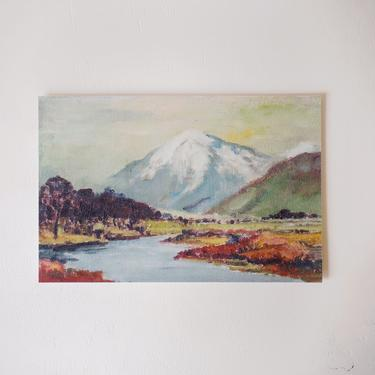Mountain Scene Oil Painting, Vintage Mountain Print, Landscape Art, Blues and Greens, Gift for the Home, Gift for Her by cedargrey