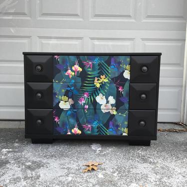 Solid wood vintage dresser || Furniture Art|| Black dresser by FolkloveStudio