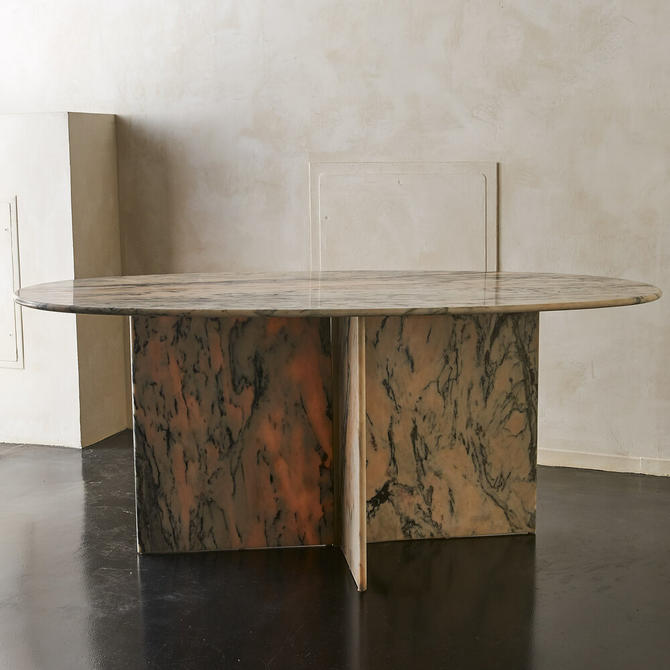 Oval Pink and Gray Marble Dining Table