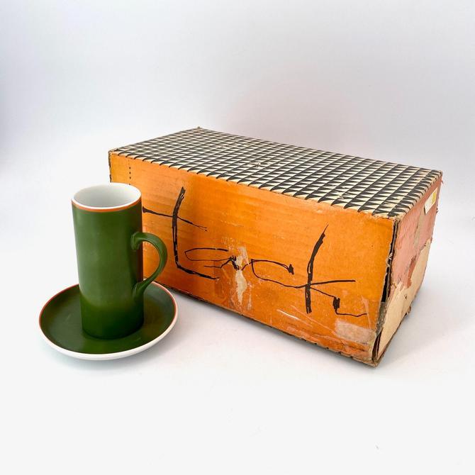 Green La Gardo Tackett Cups Six Demitasse Porcelain Espresso Tea Cups + Saucers Vintage Mid-Century Modernist New in Box Schmid Japan by BrainWashington