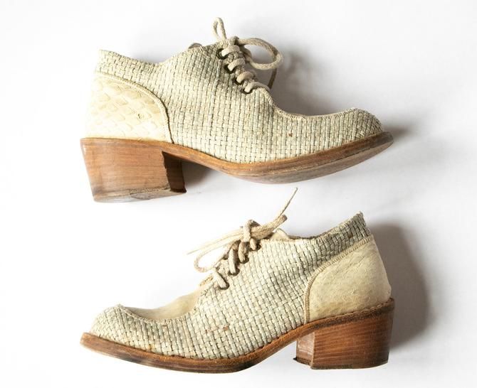 1990s Shoes Woven Leather Chunky Leather Ankle Booties Sz 37.5 by dejavintageboutique