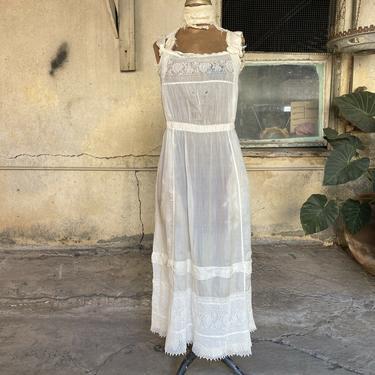 Antique Edwardian White Pongee Silk Dress Pink Ribbon Bows Floral Lace Vintage