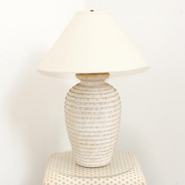 Architectural Plaster Table Lamp Ribbed California Look Neutral Decor Vintage 80s 90s Michael Taylor Hollywood Regency by 330Modern