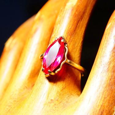 Antique 10K Yellow Gold Marquise Ruby Ring, Faceted Red Gemstone, Straight Gold Band, Size 6 1/4 US by shopGoodsVintage
